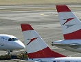 Maschine der Austrian Airlines am Boden