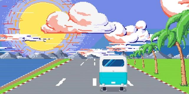 Pixelgrafik: Straße am Meer unter Palmen, Bus fährt