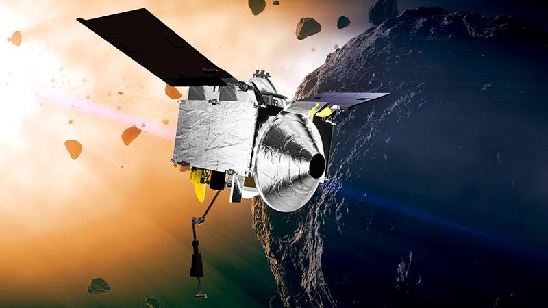 Künstlerische Darstellung: Die OSIRIS-REx-Raumsonde erreiht den Asteroiden Bennu