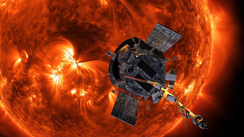 Künstlerische Darstellung: Parker Solar Probe kreist um die Sonne
