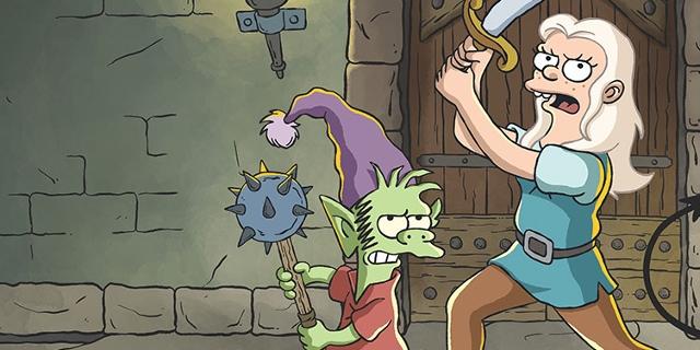 """Die Figuren aus der Zeichentrickserie """"Disenchantment"""": Eine Prinzessin mit Säbel, ein grüner Elf und ein schwarzer Dämon"""