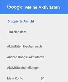 Das Hauptmenü auf myactivity.google.com