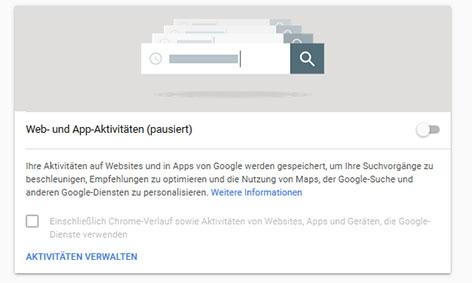 "Der Menüpunkt ""Web- und App-Aktivitäten"" unter myactivity.google.com"