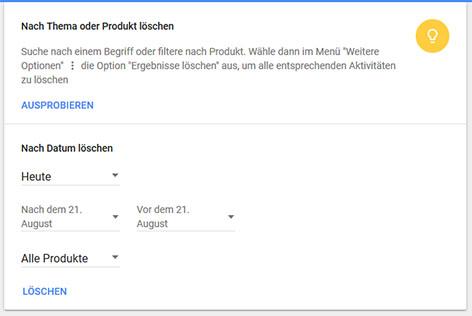 Filter-Löschfunktion für gespeicherte Aktivitäten auf myactivity.google.com