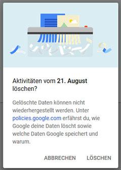 Löschhinweis auf myactivity.google.com