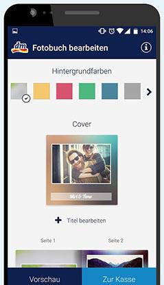Handy-Screenshot der App dm 1-Klick-Fotobuch mit verschiedenen Gestaltungsoptionen