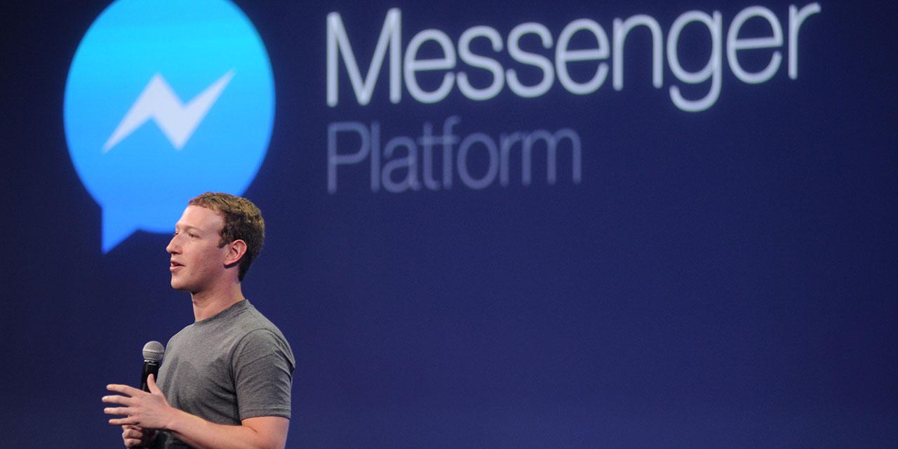 """Mark Zuckerberg vor dem Schriftzug """"Facebook Messenger"""""""