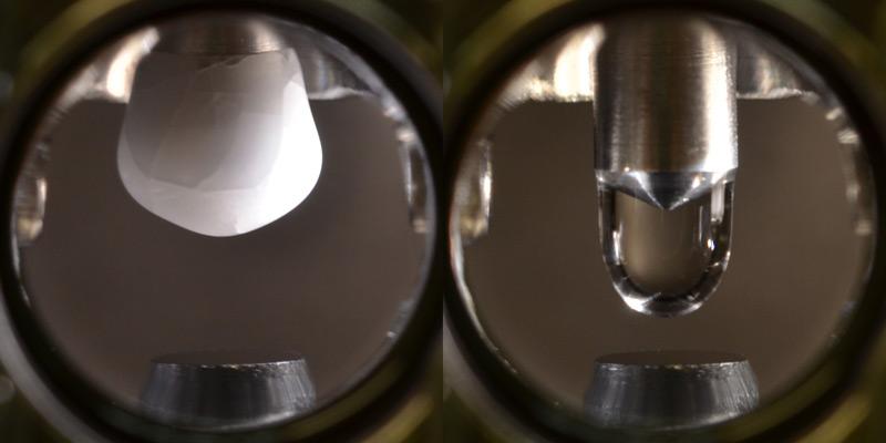In der Vakuumkammer wird ein hochreiner Eiszapfen hergestellt und dann geschmolzen