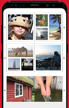 Handy-Screenshot der App FotoCharly mit der Vorschau mehrerer Fotobuchseiten