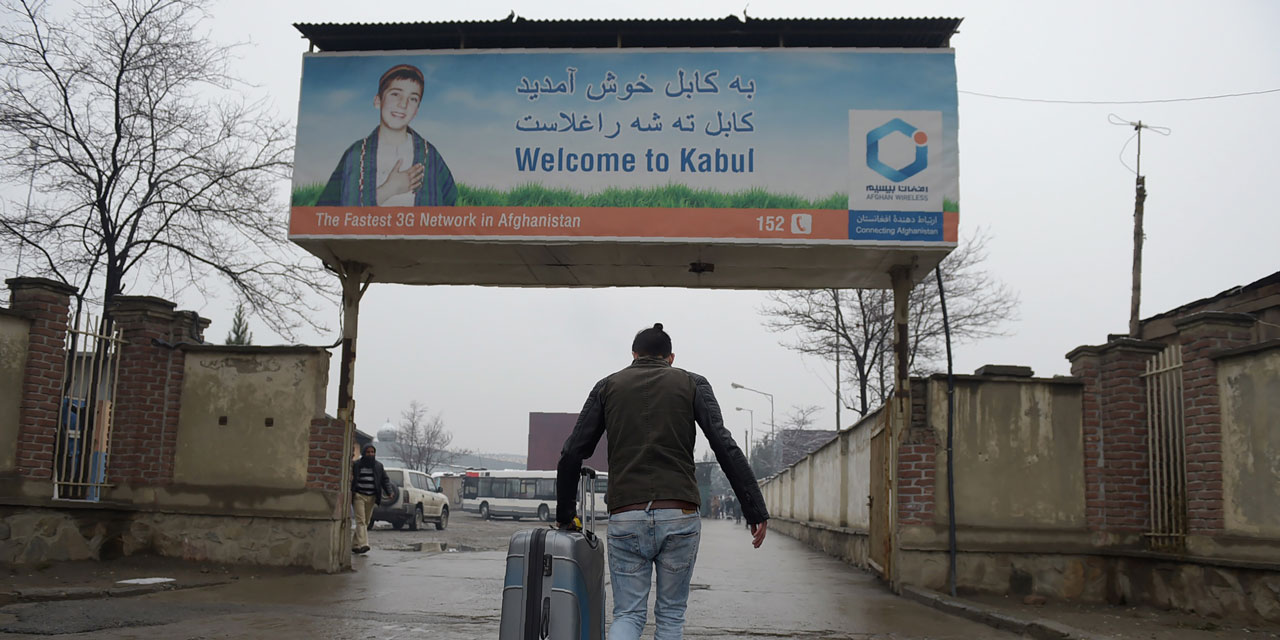Schild: Welcome to Kabul