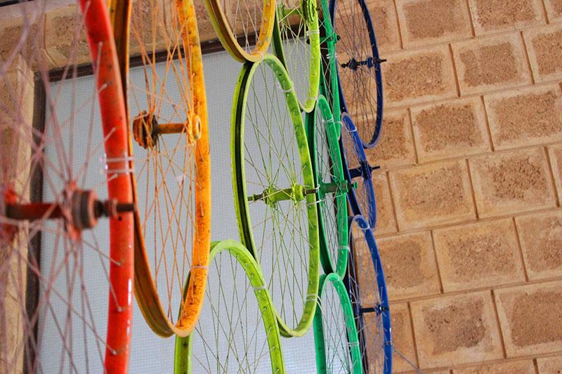 Bunte Fahrradspeichen