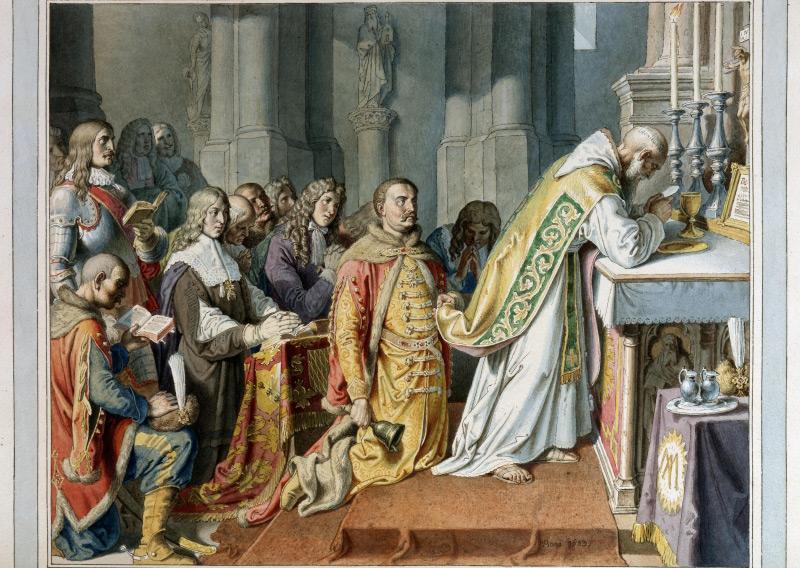 Messe auf dem Leopoldsberg: Die Messe des Marco d'Aviano in der alten Georgskapelle mit König Johann III. Sobieski von Polen als Ministrant. Aquarell von Josef von Führich, 1842.