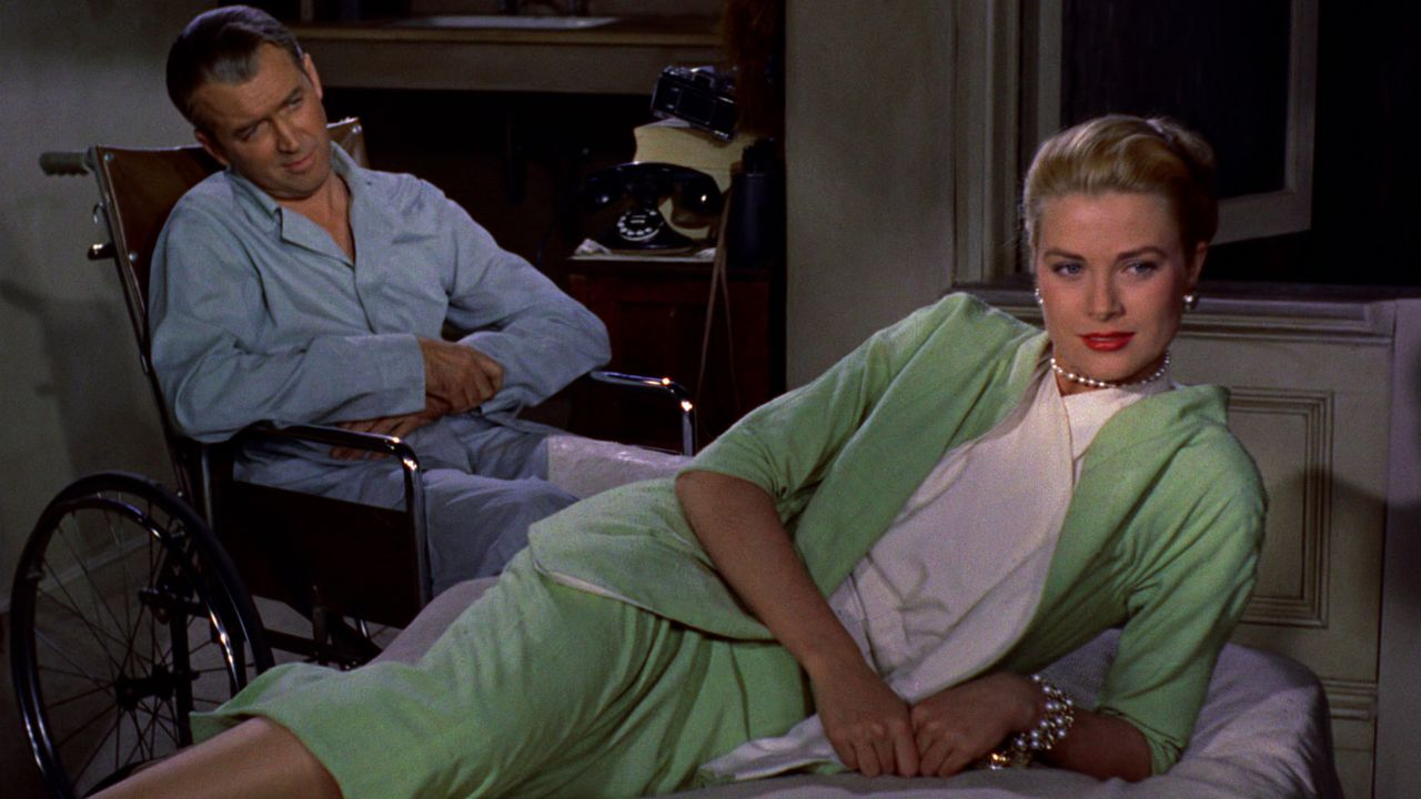 "James Stewart und Grace Kelly in ""Rear Window"""