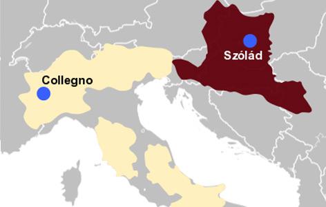 Karte des Langobardenreichs (gelb) und Pannoniens (rot) mit den Fundorten