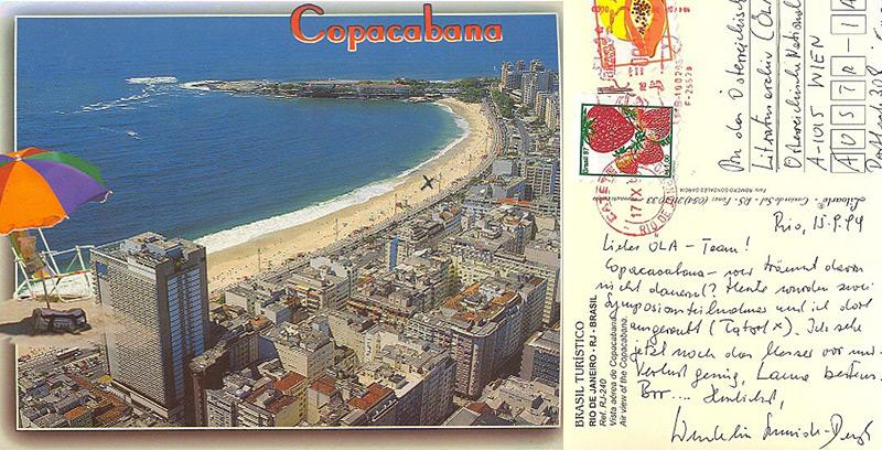 Postkarte von Wendelin Schmidt-Dengler aus Rio an das Literaturarchiv