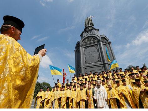 Mitglieder der ukrainisch-orthodoxen Kirche des Kiewer Patriarchats