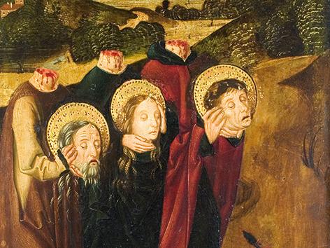 Die enthaupteten Heiligen Felix, Regula und Exuperantius auf dem Weg zur Grabstätte. Tafelbild auf Holz, um 1490, Meister des Winkler-Epitaphs