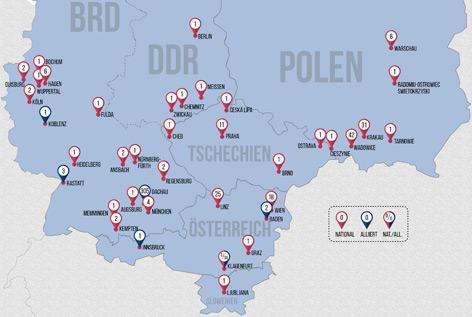 An diesen Orten wurden Prozesse mit Bezug zum Mauthausen-Komplex geführt