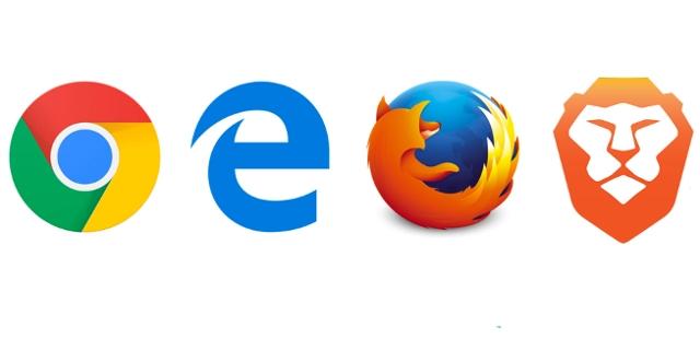 Die Logos der Browser Chrome, Firefox, Microsoft Edge und Brave