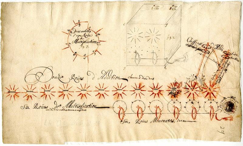 Leibniz-Skizze einer Rechenmaschine