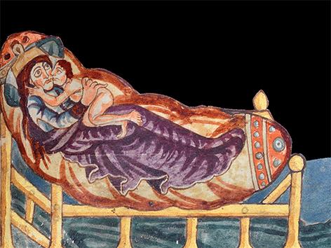 Christi Geburt, Zeichnung aus dem Stuttgarter Psalter (820-830)