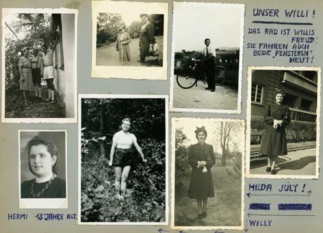 Seite eines Albums mit Bildern aus den 1930er und 1940er Jahren. Angelegt wurde das Album vermutlich in den 1950er Jahren von einer unbekannten Wienerin