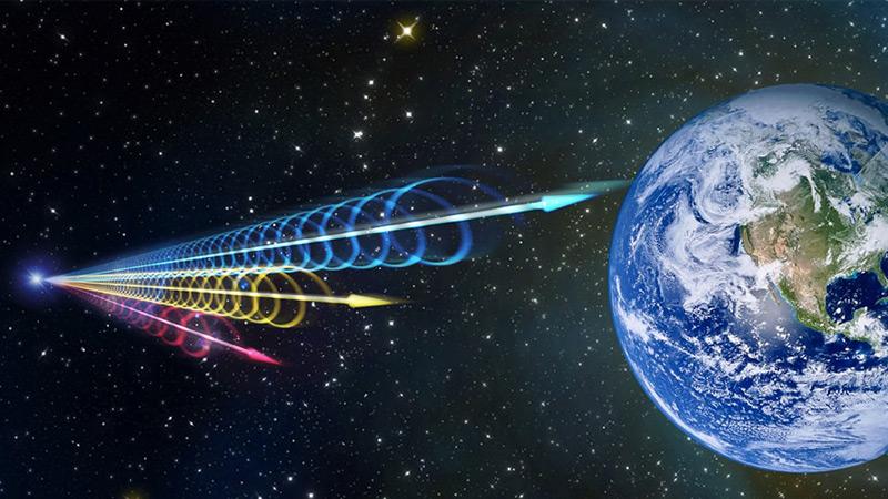 Künstlerische Darstellung kosmischer Radioblitze