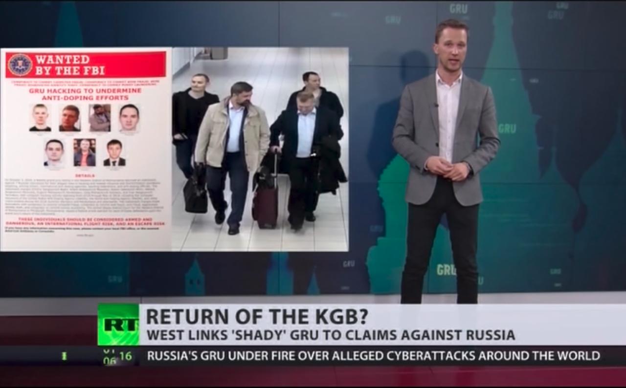 Screenshots aus einer Nachrichtensendung auf Russia Today