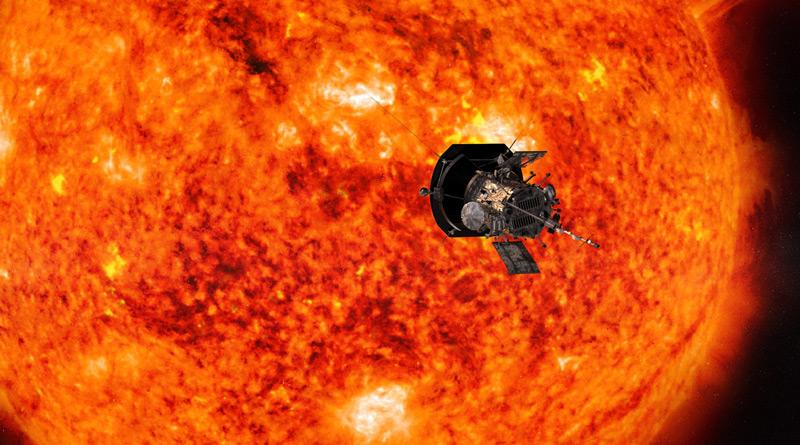 """Die NASA-Sonde """"Parker Solar Probe"""" nähert sich der Sonne (künstlerische Darstellung)"""