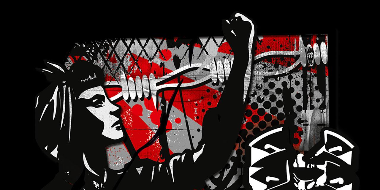 schwarz-rote Grafik zum Protestsongcontest