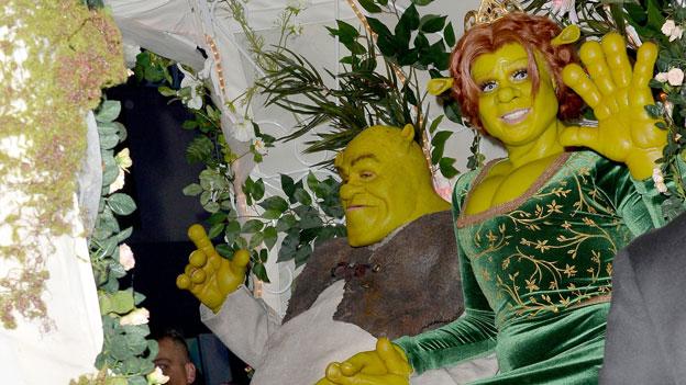 Heidi Klum verkleidet zu Halloween als Shrek