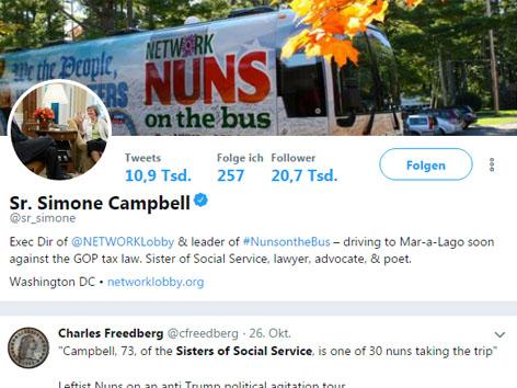 Nonnen auf Bustour gegen Trump