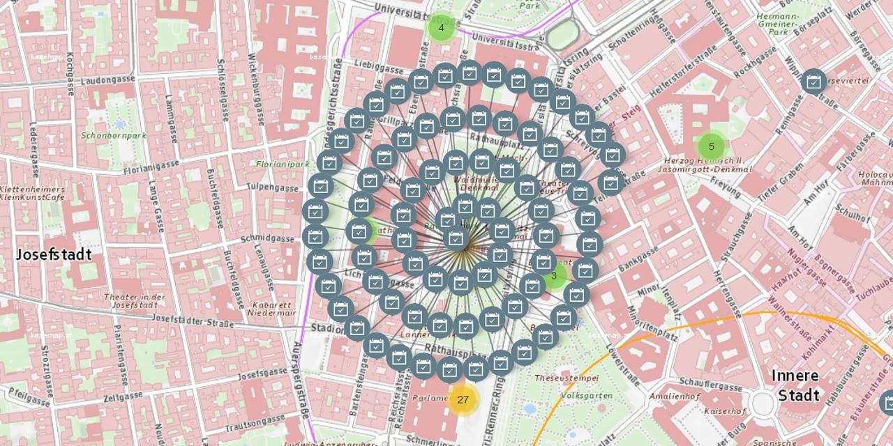 Screenshot: Online-Karte: Demonstrationen am Rathausplatz