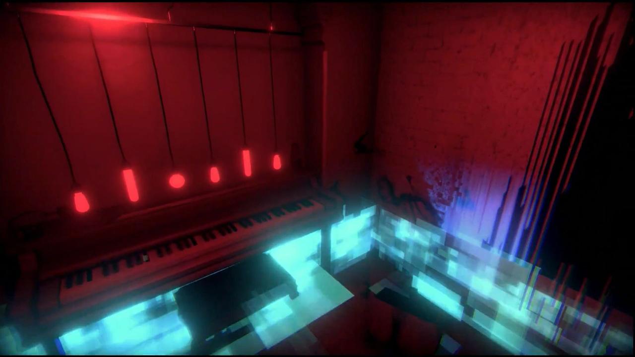 Screenshot: düsteres Zimmer mit roten Glühbirnen und Klavier