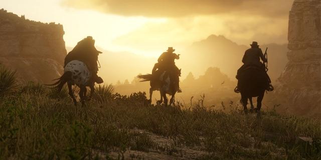 Vier Reiter im Sonnenuntergang