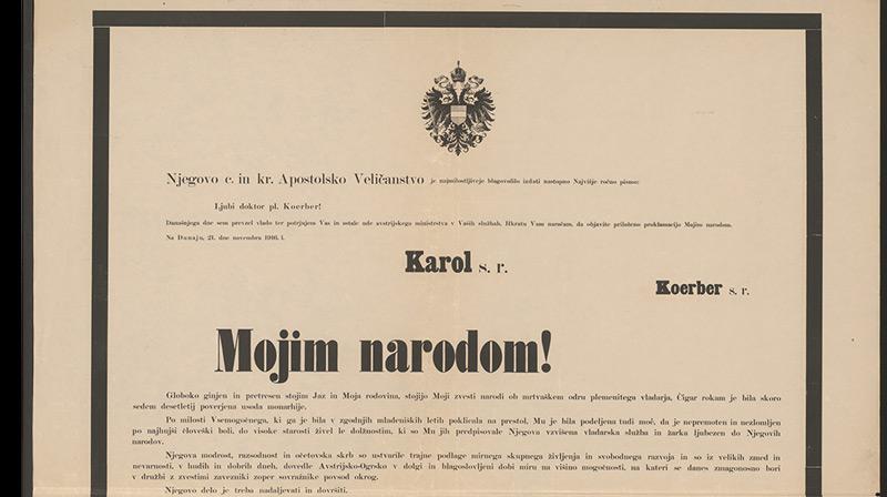 Mojim narodom! (An meine Völker!): Schreiben von Kaiser Karl vom 21. November 1916 in slowenischer Sprache