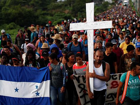 """Teile der """"Karawane"""" von Flüchtenden in Mexiko Richtung USA"""