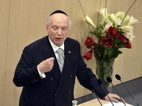 Rabbi Arthur Schneier während de rParlamentsveranstaltung zum Gedenken an die Opfer anl. Jahrestag der Novemberpogrome  am 9. November 2018  in der Wiener Hofburg