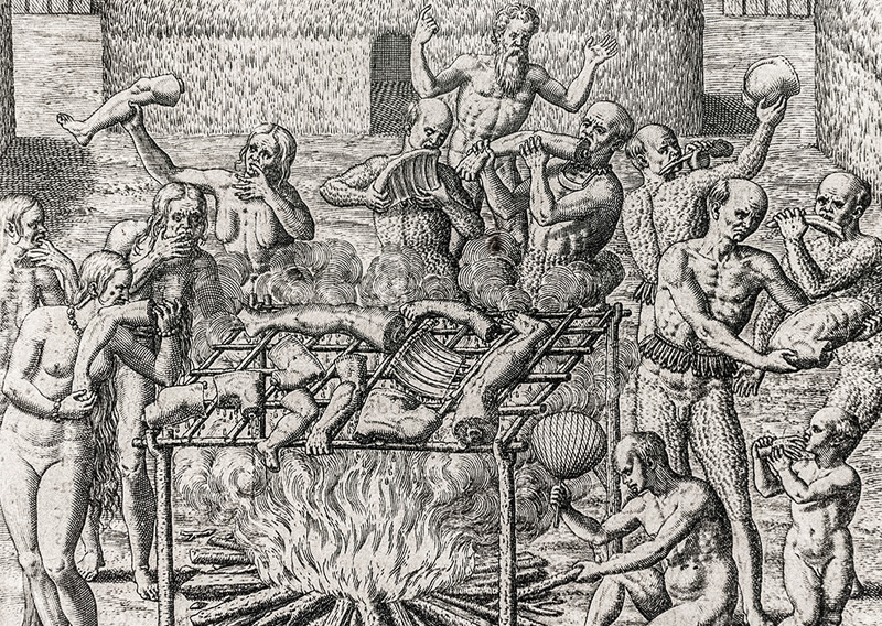 Théodore de Bry, 1562: Kannibalismus in Brasilien