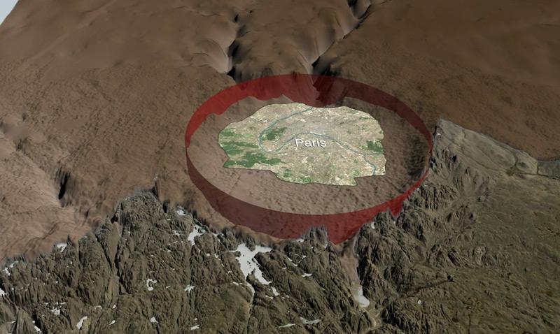 Zeichnung des Kraters, größer als Paris