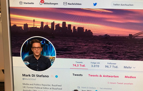 Screenshot der Twitter-Homepage von Mark di Stefano