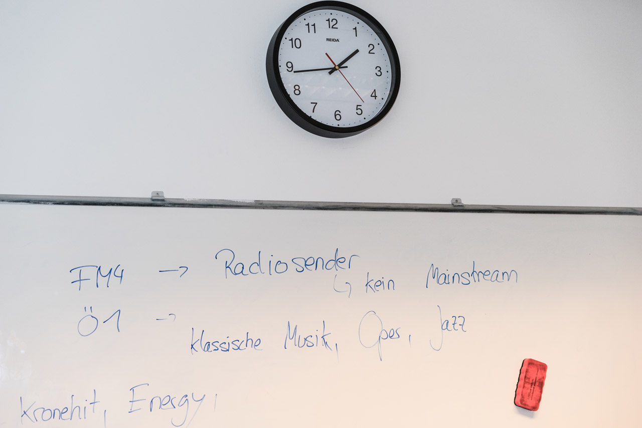 Schultafel aus dem BaKo-Kurs zur Interviewvorbereitung mit FM4