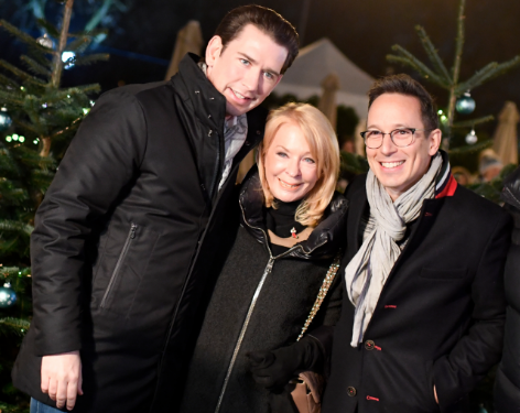 Bundeskanzler Sebastian Kurz mit Gerade Rogers und Peter L. Eppinger
