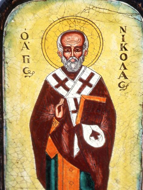 Eine griechische Ikone mit einer für die Ostkirche typischen Darstellung des heiligen Nikolaus.