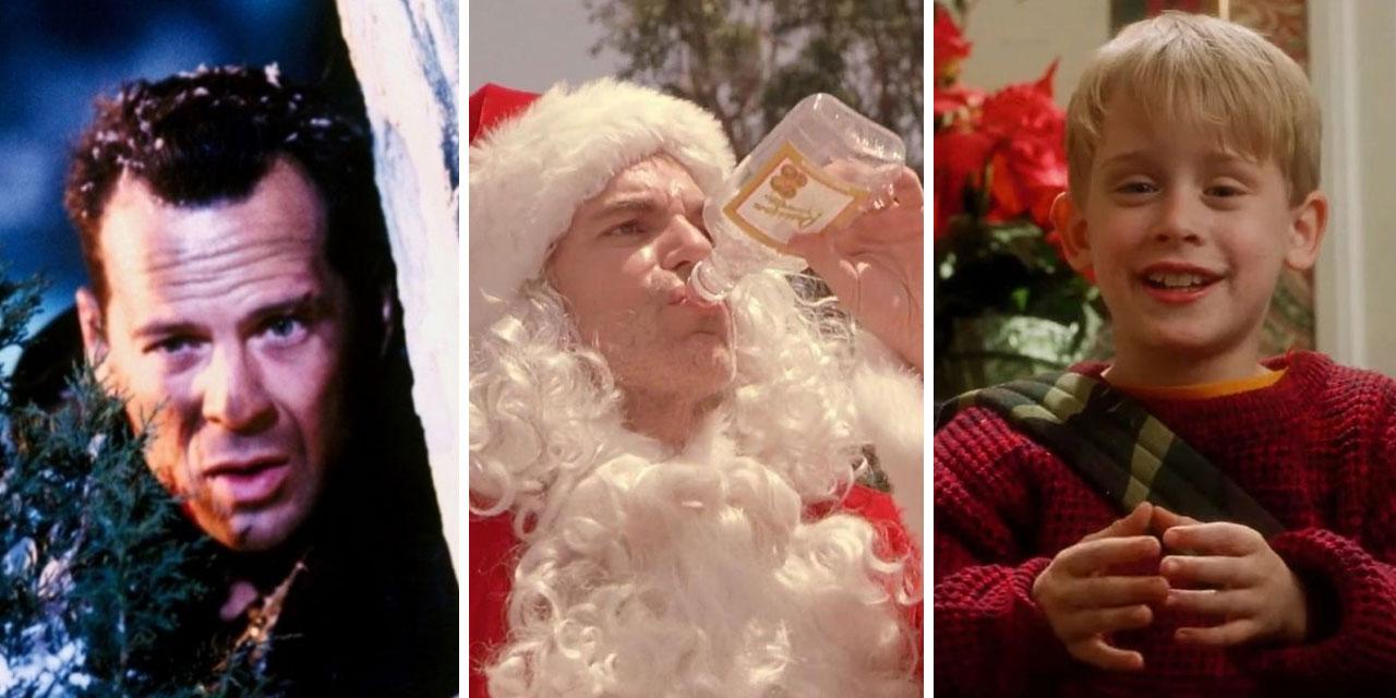 """Eine Collage aus Filmscreens von """"Die Hard 2"""", """"Bad Santa"""" und """"Kevin allein zu Hause"""""""