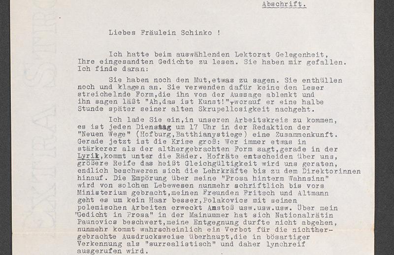 """Abschrift eines Briefes vom 22./24. November 1950 über die Ausrichtung der """"Neuen Wege"""""""