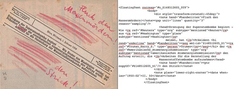 Tagebucheintrag vom Februar 1950, symptomatisch für die verschiedenen Textebenen (li.), XML-Auszeichnung des Tagebucheintrags (re.)