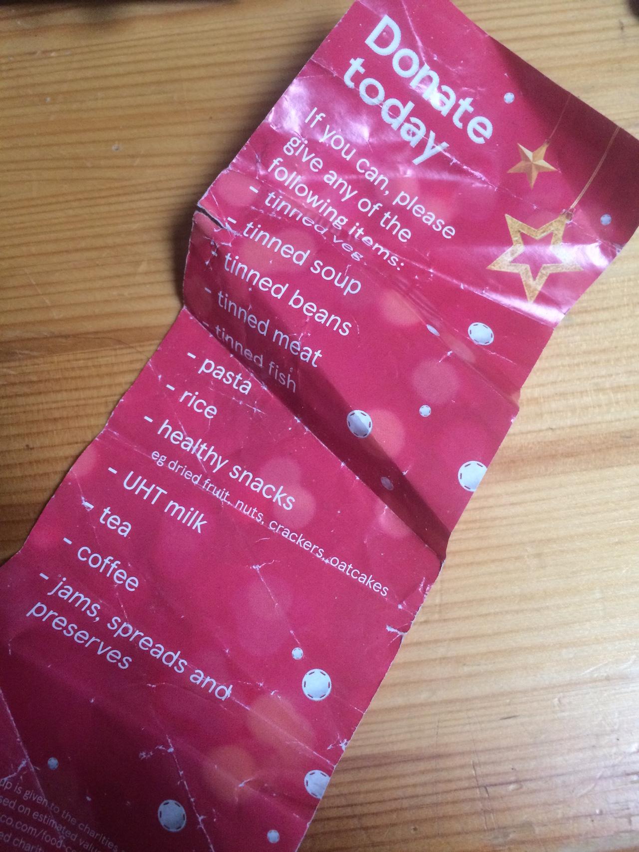 Einkaufsliste für Essenspenden