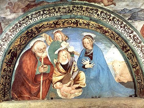 Krippenszene von Gaudenzio Ferrari, Fresko, ca. 1515, Kirche Madonna di Loreto, Roccapietra, Italien