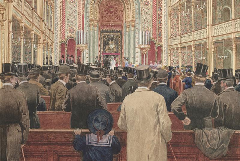Besucher im Leopoldstädter Tempel: Die Synagoge war im damals beliebten maurischen Stil gehalten, die Besucher dagegen ganz zeitgenössisch modern.